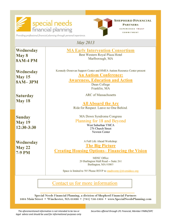 SNFP Events May 2013