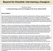 Interviewing a Caregiver I