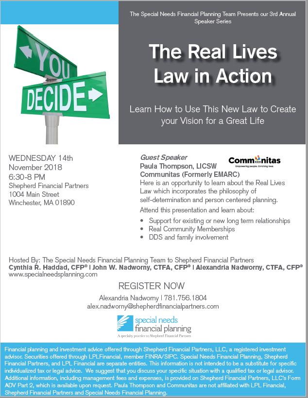 Real Lives law presentation flyer